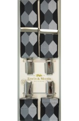 Erwin & Morris made in UK Black and Grey Polygon Shapes 35mm Nickel Feathered 4 Clip Braces
