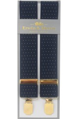 Erwin & Morris Made in UK Navy Blue & Gold Pin Dot 35mm Gilt Feathered 4 Clip Braces