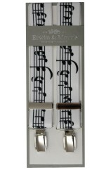 Erwin & Morris Made In UK White Musical Notes 35mm 4 Clip Braces