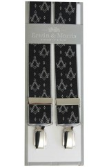 Erwin & Morris Made In UK Black & Grey Masonic Emblem 35mm 4 Clip Braces