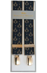 Erwin & Morris Made In UK Gold & Navy Masonic Emblem 35mm 4 Clip Braces