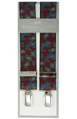 Erwin & Morris Made in UK Wine Fancy Paisley 35mm 4 Clip Braces