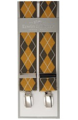 Erwin & Morris Made In UK Mustard Brown Argyle Fashion 35mm 4 Clip Braces