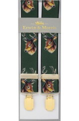 Erwin & Morris Made In UK Green Stags Head 35mm Elastic With Guilt 4 Clips Trouser Braces