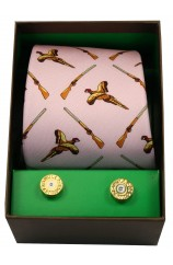 Pink Flying Pheasants & Shotguns Tie Cufflink Set