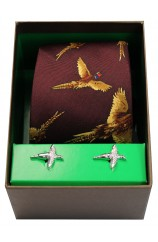 Wine Flying Pheasants Silk Tie Cufflink Set