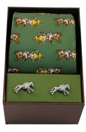 Green Horse Racing Theme Tie And Cufflink Set