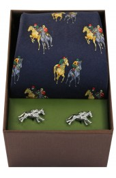 Navy Horse Racing Theme Tie And Cufflink Set