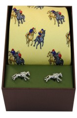 Yellow Horse Racing Theme Tie And Cufflink Set