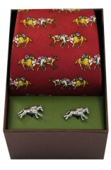 Red Horse Racing Theme Tie And Cufflink Set