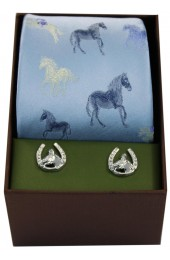 Sky With Multi Coloured Horses Tie Cufflink And Horse Set