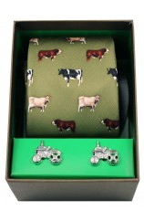 Breed Of Cows Tie Cufflink Gift Set