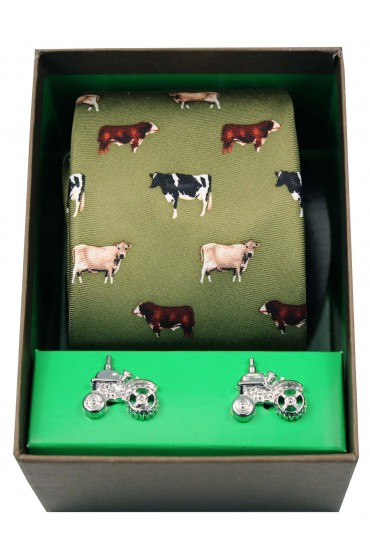 Breed Of Cows Tie And Cufflink Gift Set