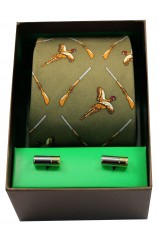 Green Flying Pheasants & Shotguns Tie Cufflink Set