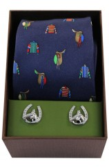 Jockey Racing Colours & Saddles Tie Cufflink Set