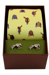 Jockey Racing Colours & Saddles On Yellow Ground Tie Cufflink Set