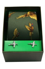 Green Flying Pheasants Silk Tie Cufflink Set