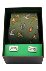 Country Birds On Green Ground Tie Cufflink Set