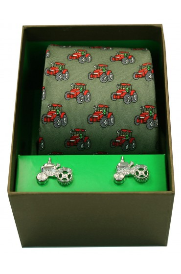 Red Tractors On Green Ground Tie Cufflink set