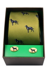 Black Labradors On Green Ground Tie Cufflink Set
