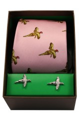 Pink Flying Pheasants Silk Tie Cufflink Set
