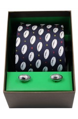 Rugby Themed Tie Cufflink Set