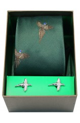 Flying Pheasants On Forest Green Ground Tie Cufflink Set