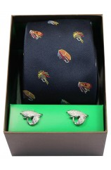 Fishing Flies On Navy Ground Tie Cufflink Set
