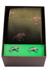 Horse Racing Theme On Green Ground Tie Cufflink Set
