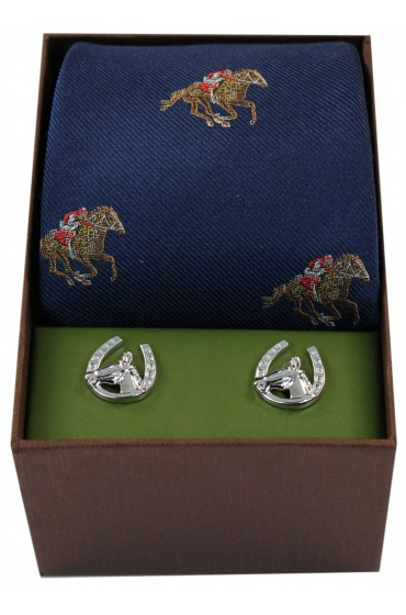Navy Horse Racing Silk Tie And Cufflink Set