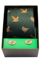 Woodcocks On Green Ground Tie Cufflink Set