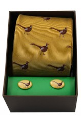 Standing Pheasant On Gold Ground Tie Cufflink Set