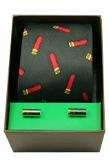 Gun Cartridges On Green Ground Tie Cufflink Set