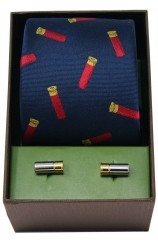 Gun Cartridges On Navy Ground Silk Tie & Cufflink Set