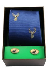 Stags Head On Royal Blue Ground Tie Cufflink Set