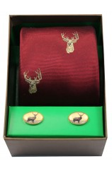 Stags Head On Wine Ground Tie Cufflink Set