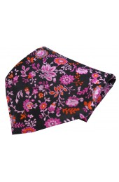 Posh & Dandy Black Pink Lilac Floral Luxury Silk Pocket Square