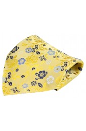 Posh & Dandy Bright Gold Flower Design Luxury Silk Pocket Square