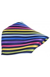Posh & Dandy Multicoloured Thin Stripes Luxury Silk Pocket Square