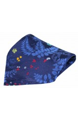 Posh & Dandy Navy Floral Leaf Pattern Silk Pocket Square