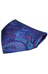 Posh & Dandy Fuchsia and Purple Edwardian Paisley Silk Pocket Square