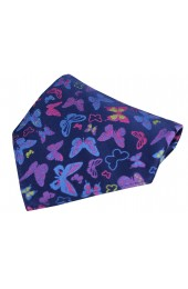 Posh & Dandy Multicoloured Butterflies on Navy Silk Pocket Square