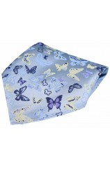 Posh & Dandy Butterflies on Pastel Blue Ground Silk Pocket Square