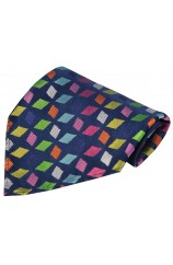 Posh And Dandy Multi Coloured Diamond Shapes Silk Hanky