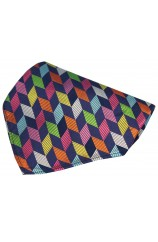 Posh And Dandy Multi Coloured Geometric Shapes Silk Hanky