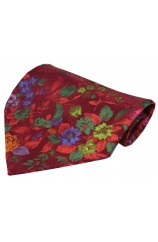 Posh And Dandy Wine With Multi Coloured Flowers Silk Hanky