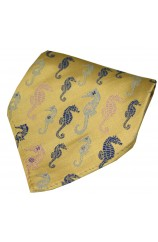 Posh & Dandy Gold Multi Coloured Sea Horses Silk Pocket Hanky