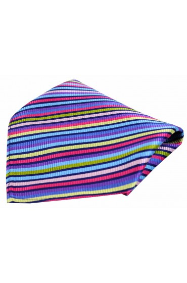 Posh & Dandy Bright Multi Coloured Thin Striped Luxury Silk Pocket Square