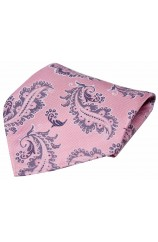 Dusky Pink With Large Paisley Design Silk Pocket Square