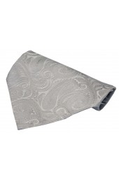 Soprano Silver Large Paisley Design Silk Pocket Square